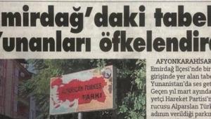 Yunan basını Emirdağ'da parkındaki haritayı böyle gördü