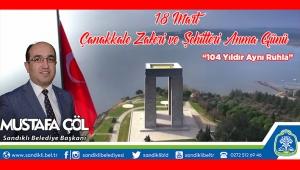 Başkan Çöl'den 18 Mart Çanakkale Zaferi Mesajı