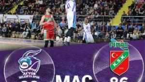 Afyon Belediye Basket Takımımız Karşıyaka'nın play off iddiasına darbe vurdu