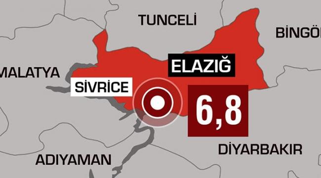 Elazığ'da 6,8 büyüklüğünde deprem: 20 kişi hayatını kaybetti, 1015 kişi yaralandı
