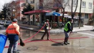 Afyonkarahisar'da cadde ve sokaklar yıkanıyor