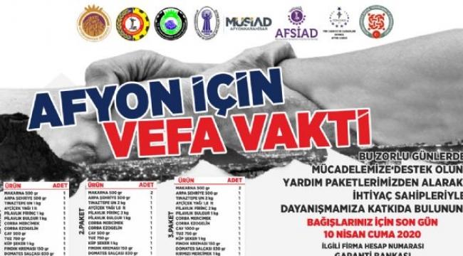 Afyonkarahisar için Vefa Vakti kampanyasında hedef 10 bin gıda kolisi