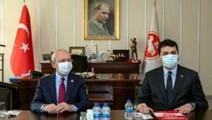 CHP Genel Başkanı Kılıçdaroğlu, DP Genel Başkanı Uysal'ı ziyaret etti.