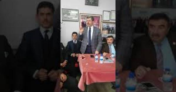 Akparti Milletvekili Ali özkaya ve Gömü Belediye Başkanı hakkı tekin seçim konuşması yapıyor